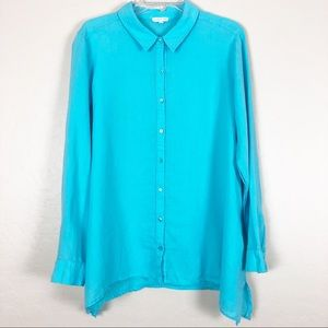 Eileen Fisher | Turquoise Linen Button Down Top